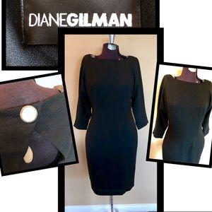 Diane Gilman Black dress 3/4sleeve cutout back sz4
